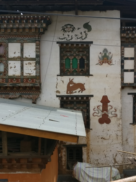 Phallus paintings on village houses near Chimi Lakhang