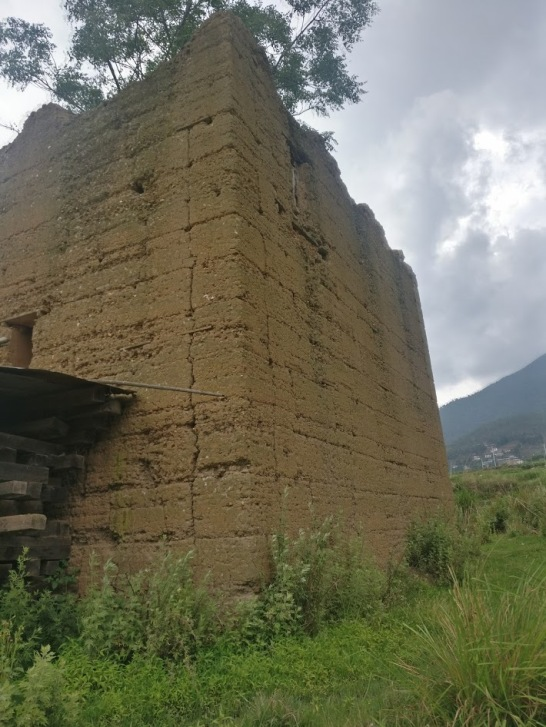rammed earth ruin near Chimi Lakhang