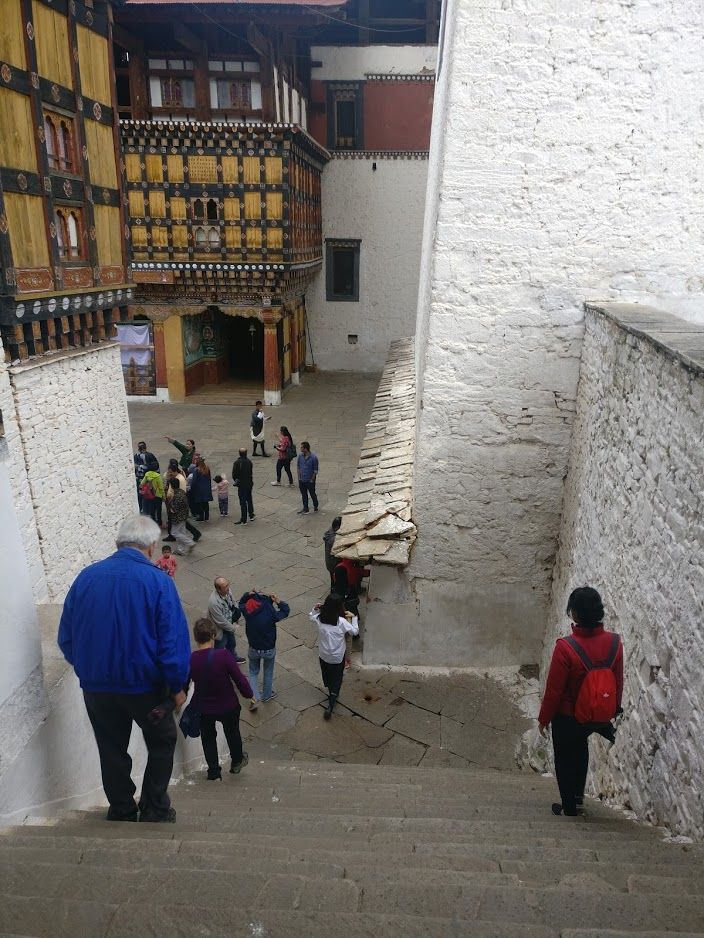 Interlocking courtyards at different levels in the Paro Dzong